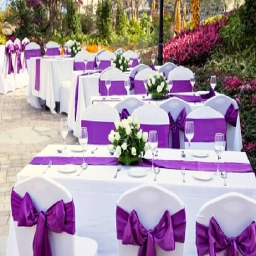 wedding tables set for function