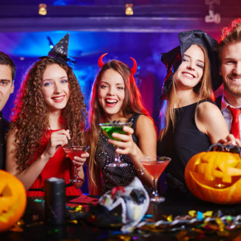 friends drinking during halloween night