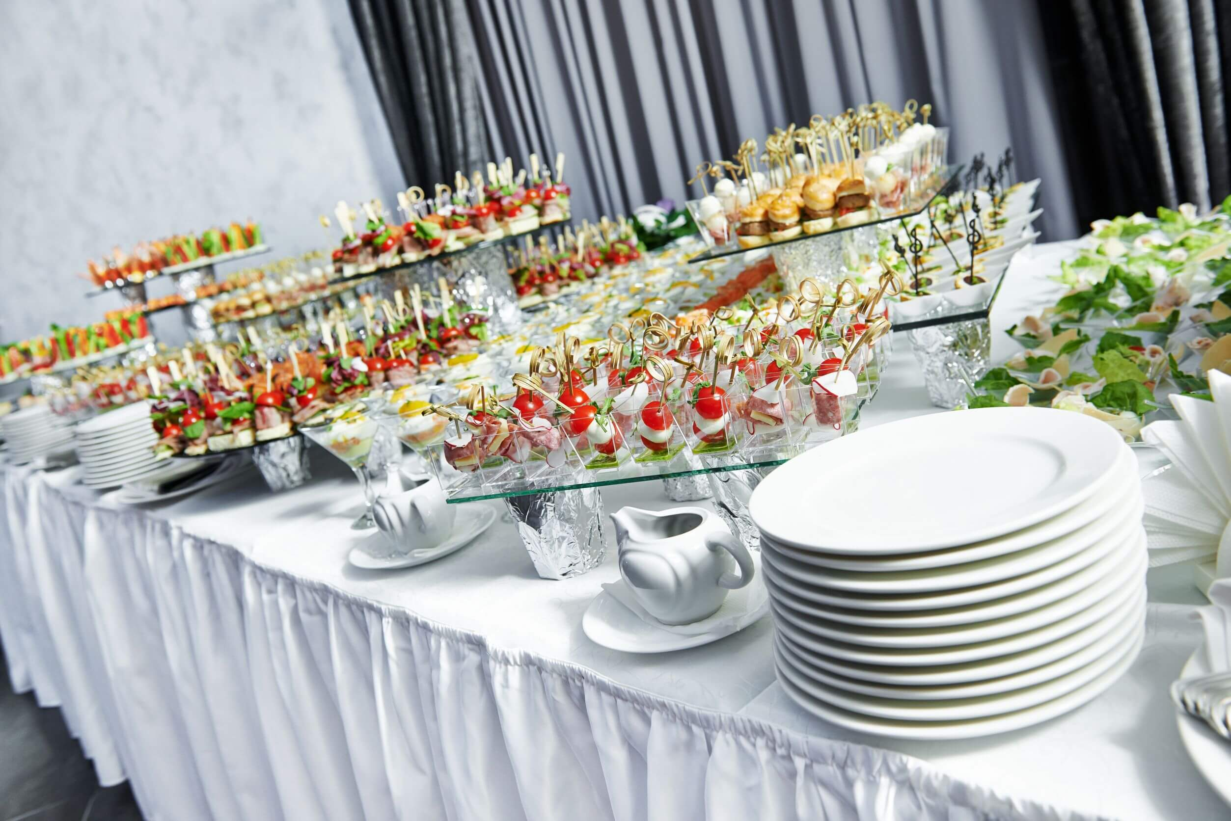 buffet catering for wedding with finger food at reception party
