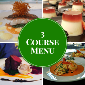 3 course plated catering menu