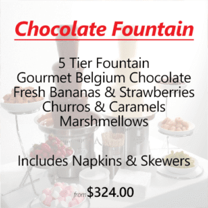 white and milk chocolate fountain event catering hire sydney
