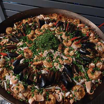 seafood paella party catering at birthday