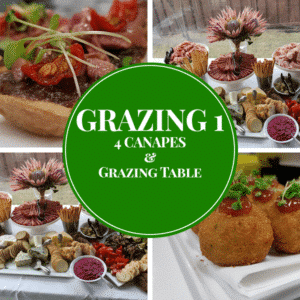 canapes meats cheese and dip grazing table package