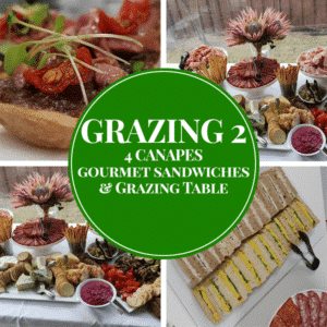 canapes sandwiches meats cheese and dip grazing table package