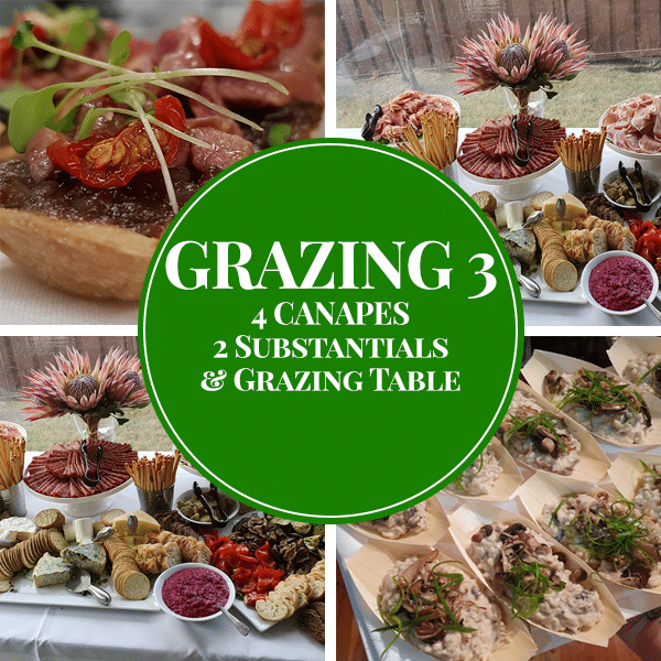 canapes substantial meats cheese and dip grazing table package
