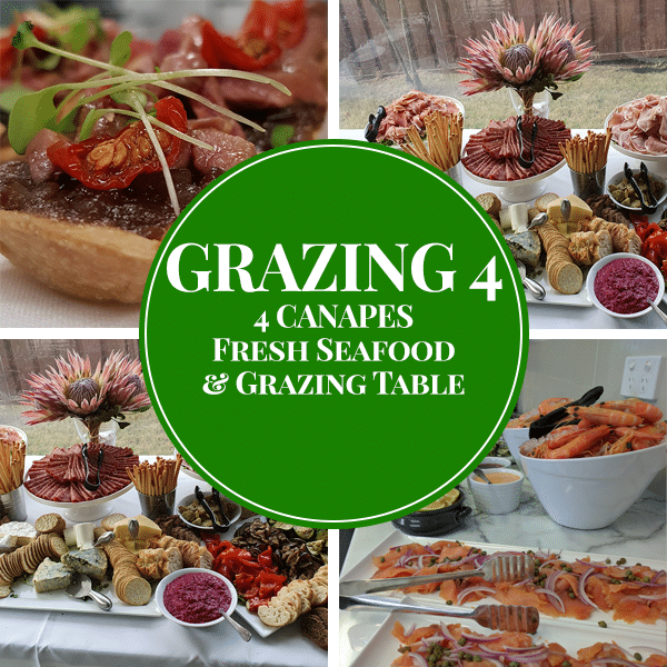 seafood canapes meats cheese and dip grazing table package